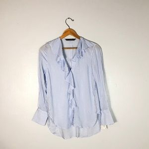 NWT $36  ZARA Blue Striped Ruffle Shirt    Size: M
